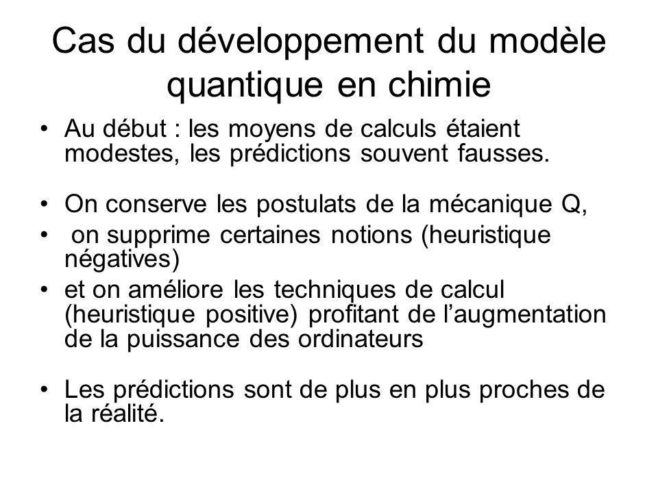 Cas du développement du modèle quantique en chimie