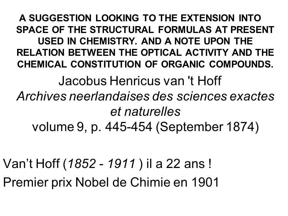 Premier prix Nobel de Chimie en 1901