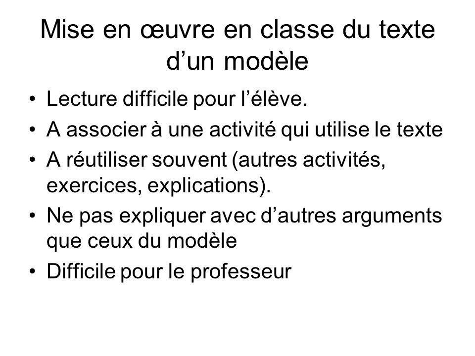 Mise en œuvre en classe du texte d'un modèle