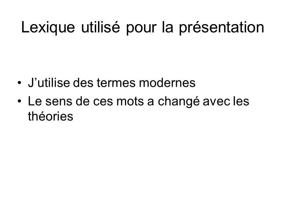 Lexique utilisé pour la présentation