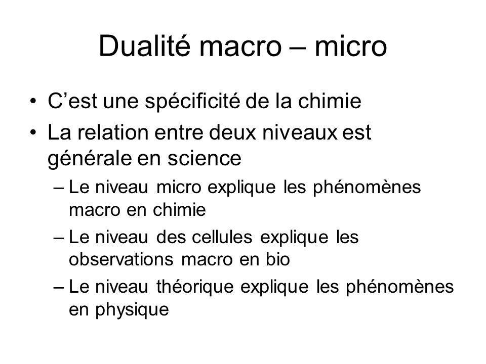 Dualité macro – micro C'est une spécificité de la chimie