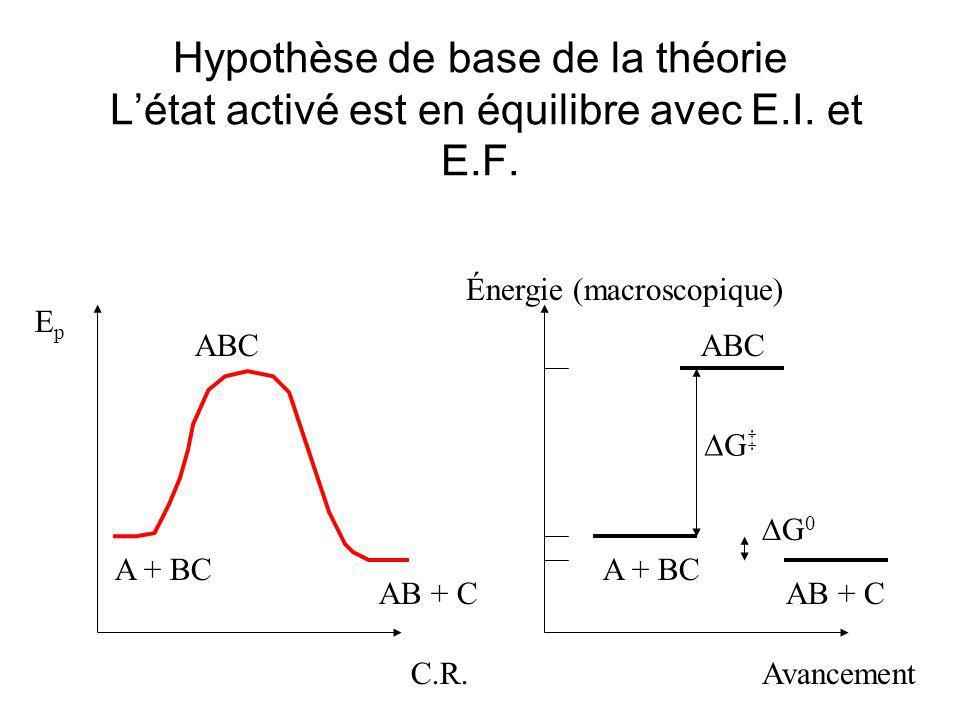 Hypothèse de base de la théorie L'état activé est en équilibre avec E