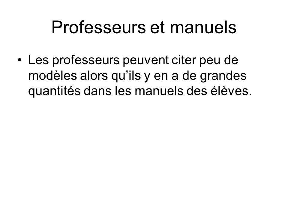 Professeurs et manuels