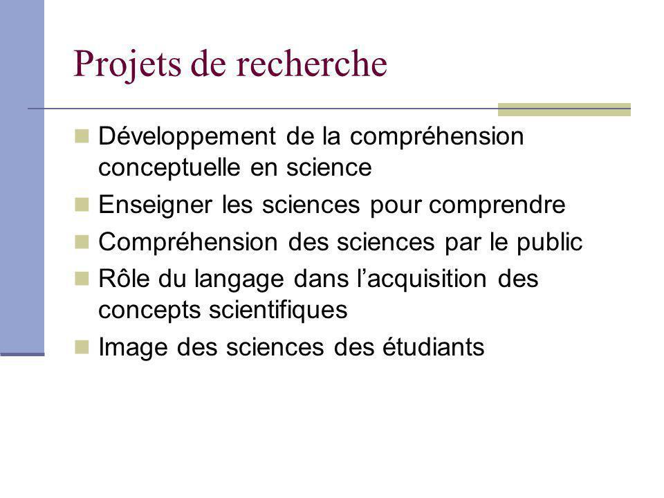 Projets de recherche Développement de la compréhension conceptuelle en science. Enseigner les sciences pour comprendre.