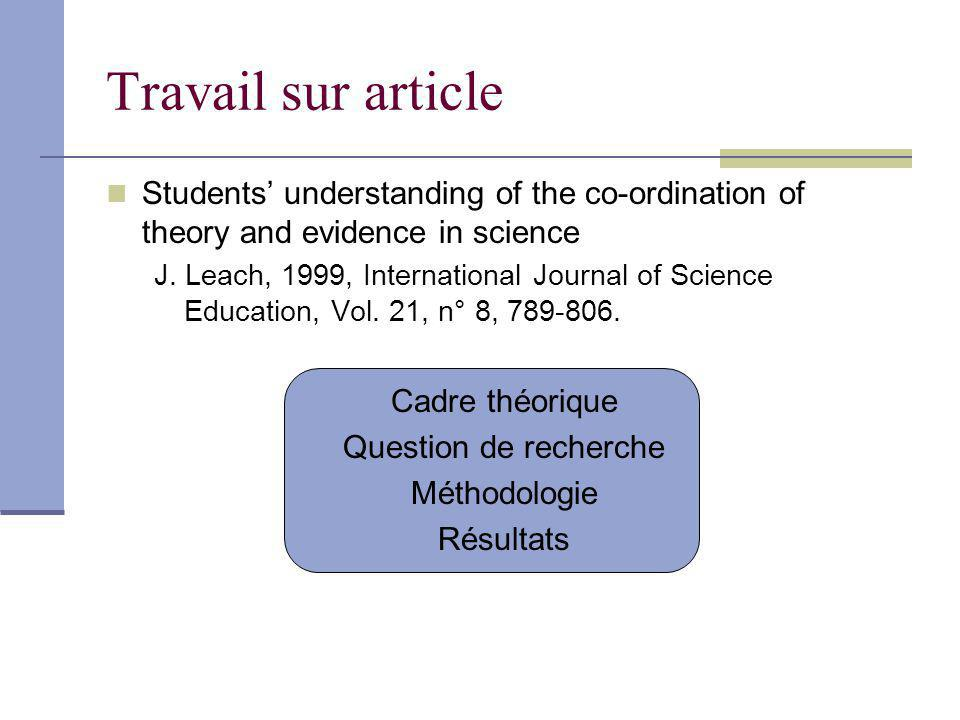 Travail sur article Students' understanding of the co-ordination of theory and evidence in science.