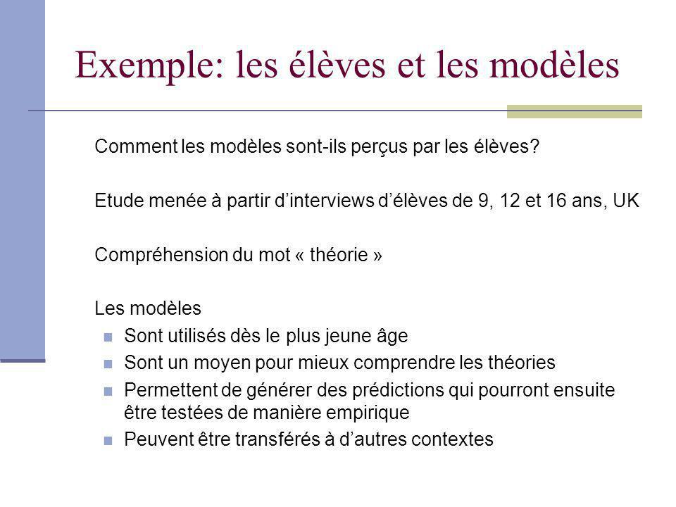 Exemple: les élèves et les modèles