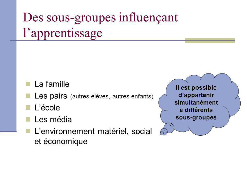 Des sous-groupes influençant l'apprentissage