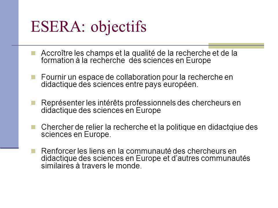 ESERA: objectifs Accroître les champs et la qualité de la recherche et de la formation à la recherche des sciences en Europe.