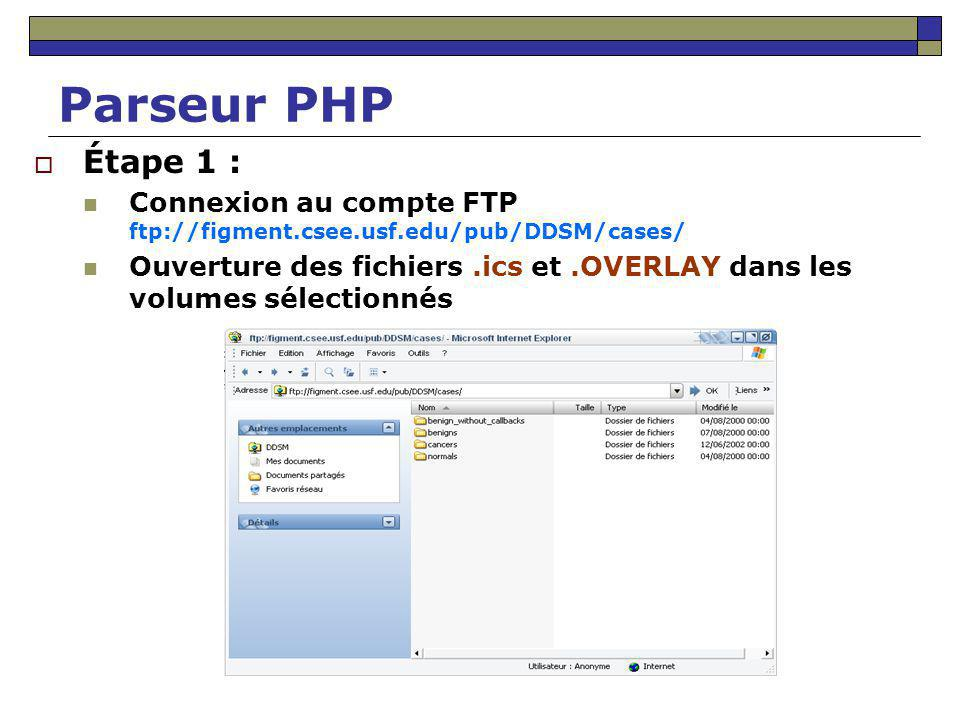 Parseur PHP Étape 1 : Connexion au compte FTP ftp://figment.csee.usf.edu/pub/DDSM/cases/