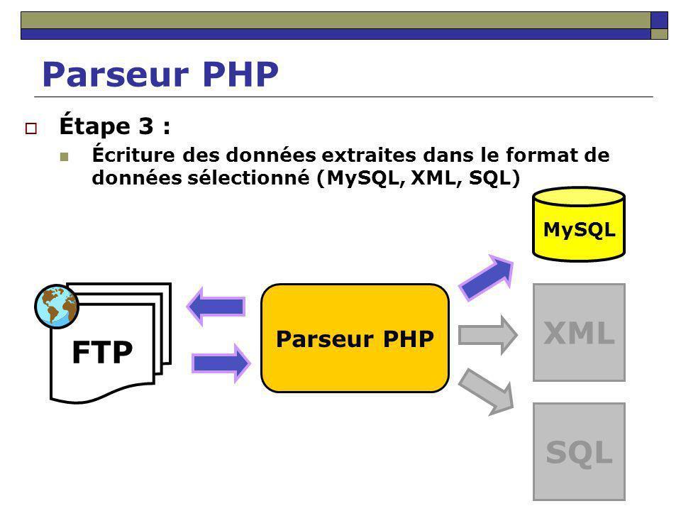 Parseur PHP XML FTP SQL Étape 3 : Parseur PHP