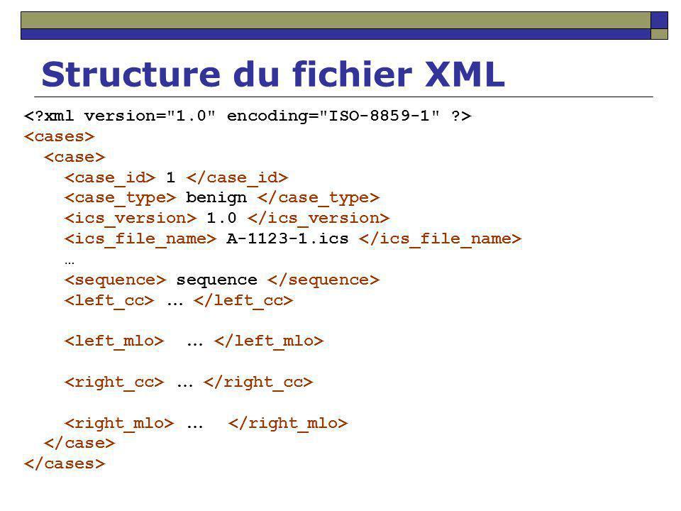 Structure du fichier XML