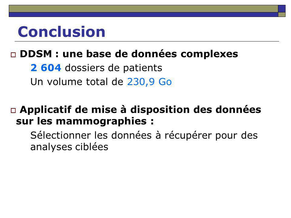 Conclusion DDSM : une base de données complexes