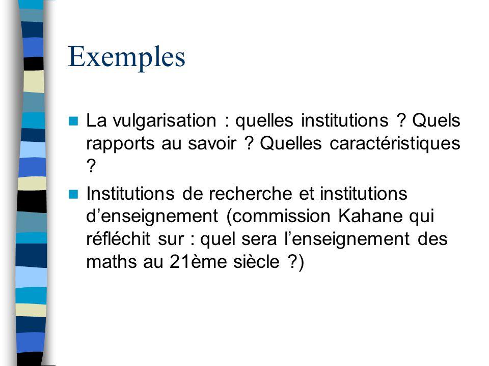 Exemples La vulgarisation : quelles institutions Quels rapports au savoir Quelles caractéristiques
