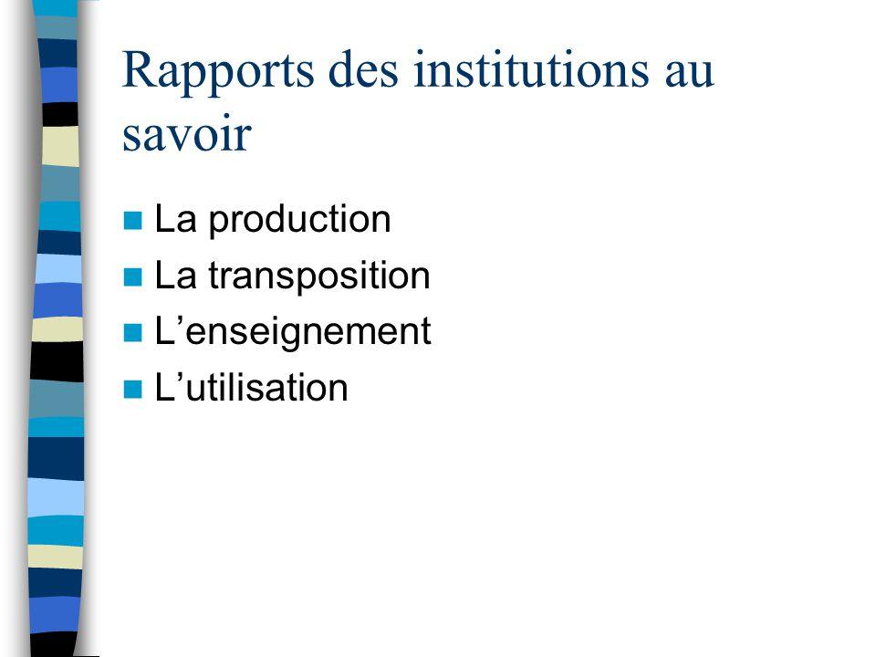 Rapports des institutions au savoir