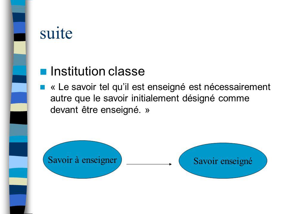 suite Institution classe