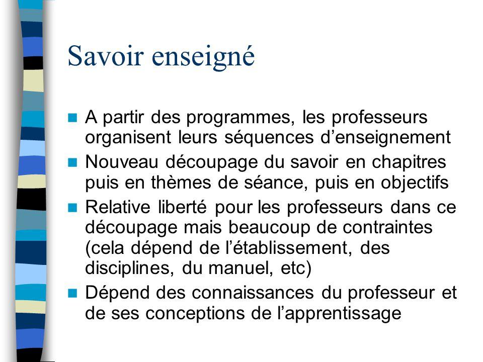 Savoir enseigné A partir des programmes, les professeurs organisent leurs séquences d'enseignement.