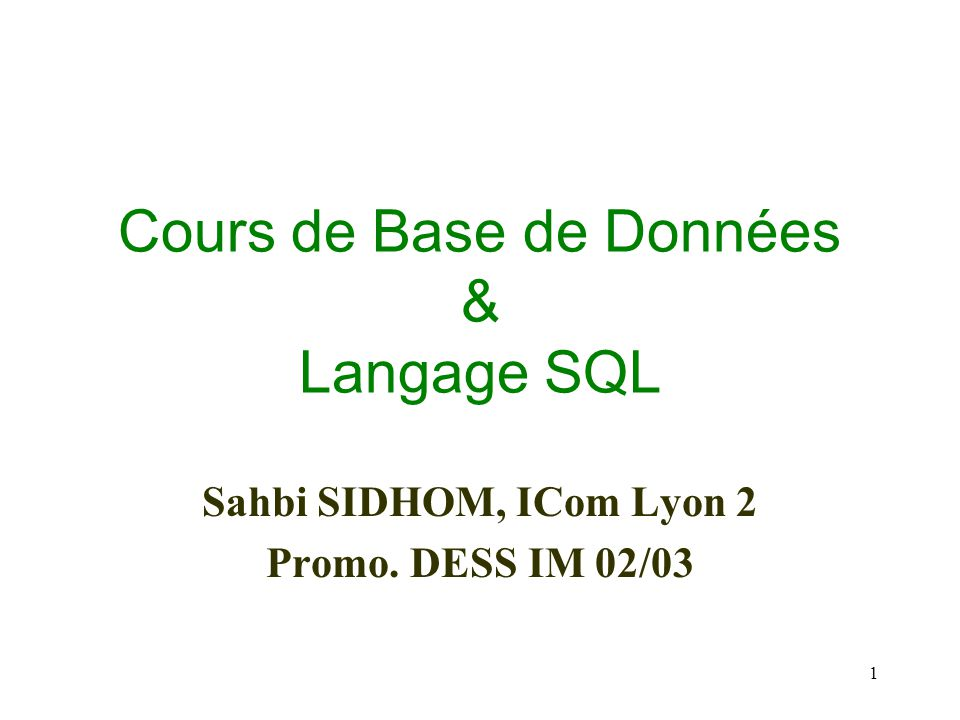 Cours de Base de Données & Langage SQL