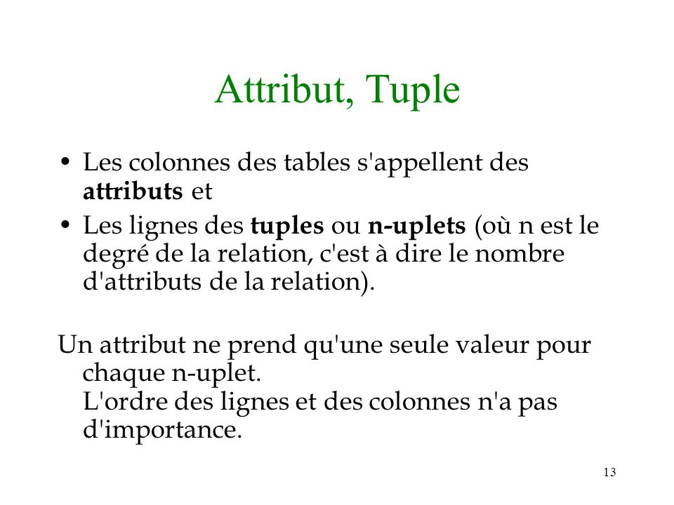 Attribut, Tuple Les colonnes des tables s appellent des attributs et