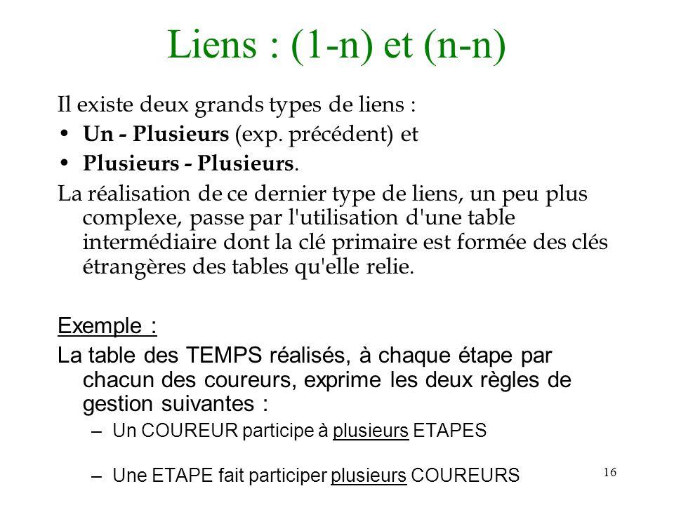 Liens : (1-n) et (n-n) Il existe deux grands types de liens :