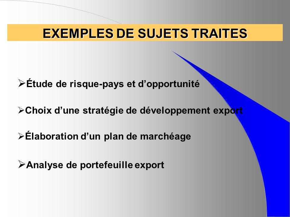 EXEMPLES DE SUJETS TRAITES