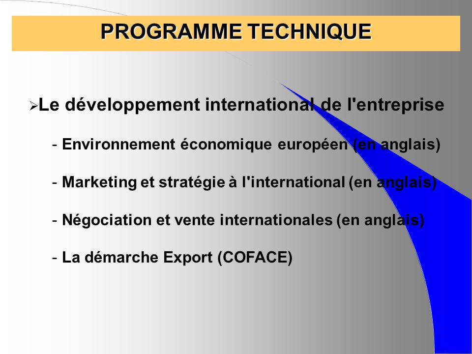 PROGRAMME TECHNIQUE Environnement économique européen (en anglais)