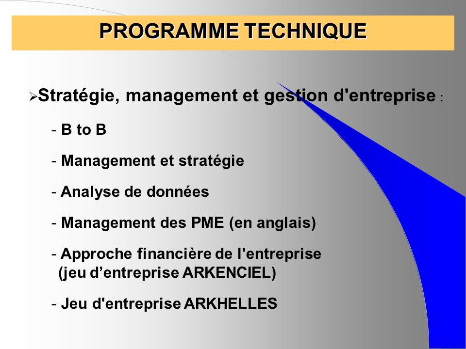 PROGRAMME TECHNIQUE B to B Management et stratégie Analyse de données