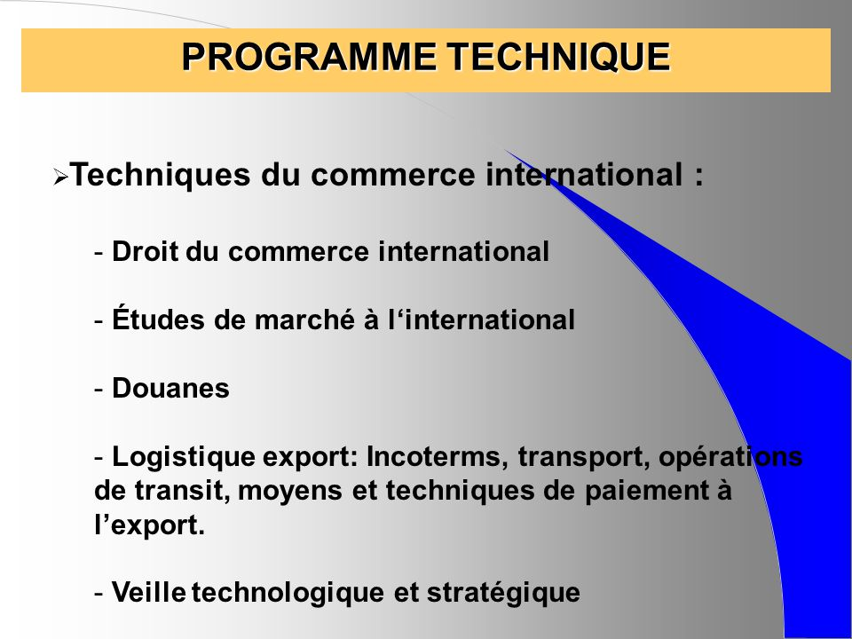 PROGRAMME TECHNIQUE Droit du commerce international