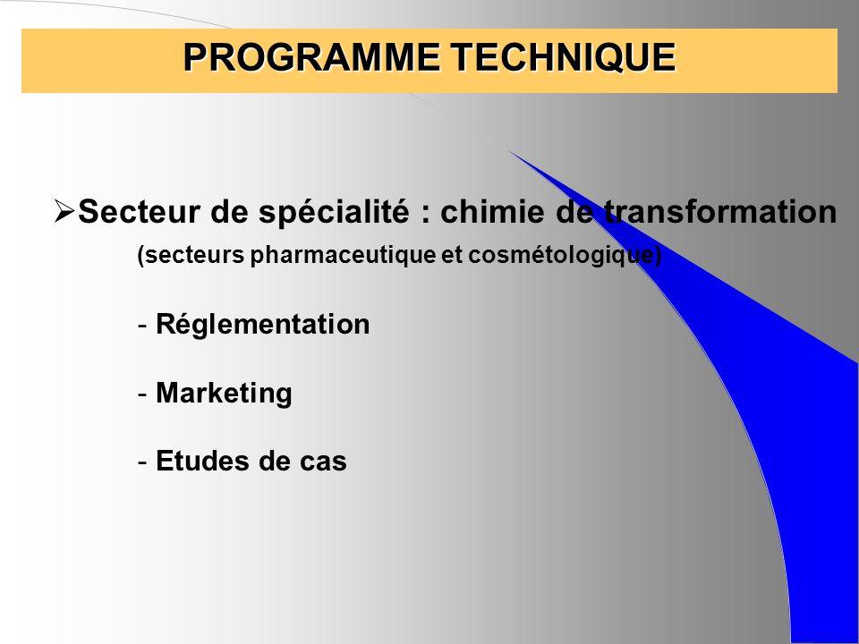 PROGRAMME TECHNIQUE Secteur de spécialité : chimie de transformation