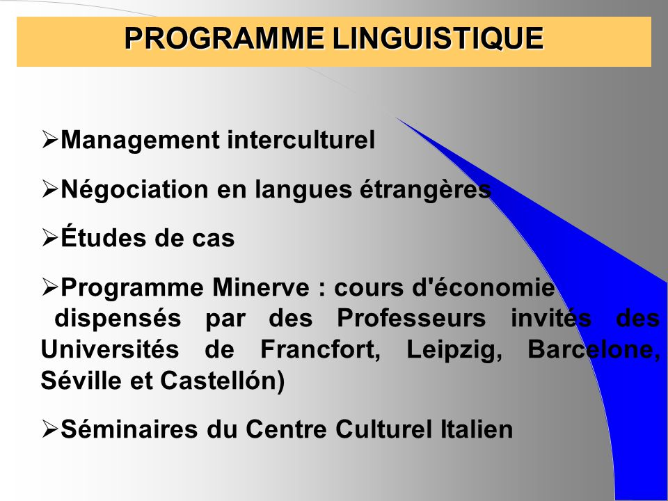 PROGRAMME LINGUISTIQUE