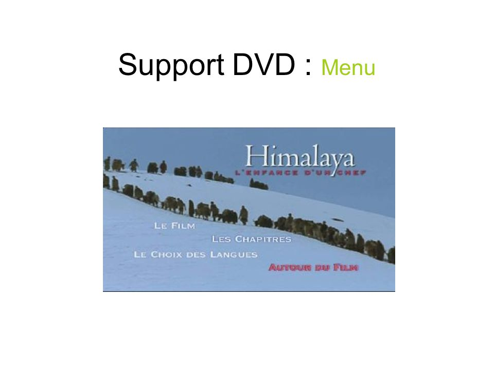 Support DVD : Menu