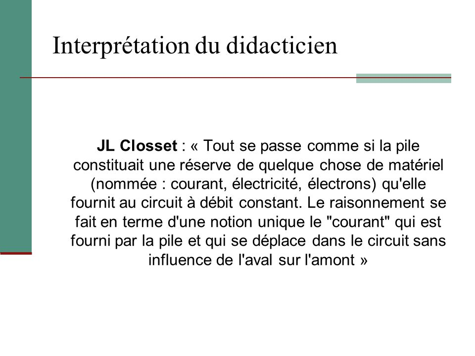 Interprétation du didacticien