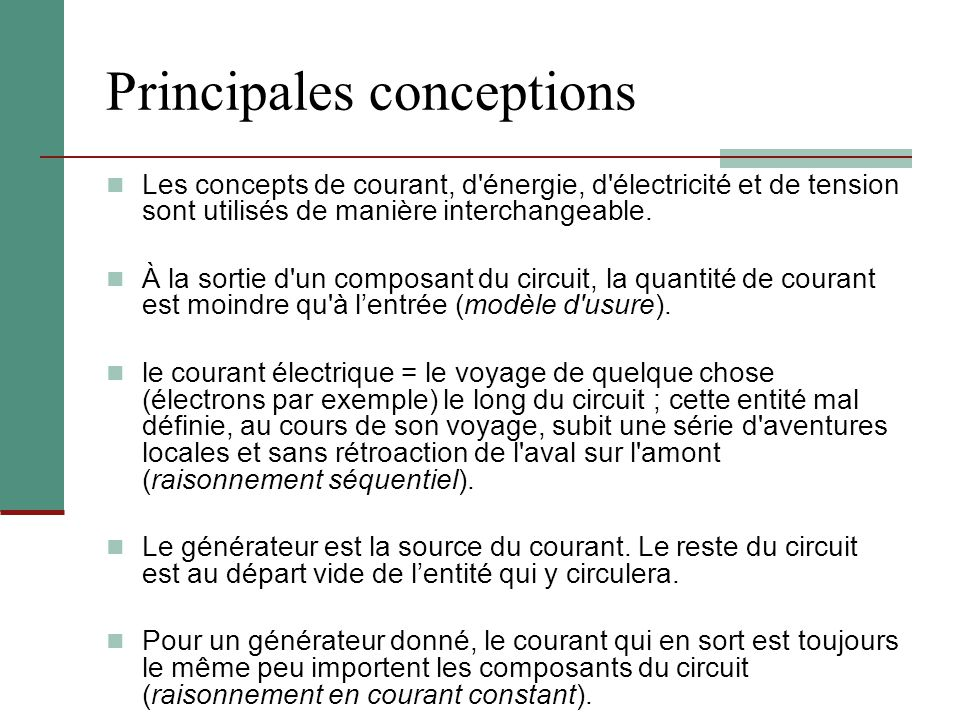 Principales conceptions