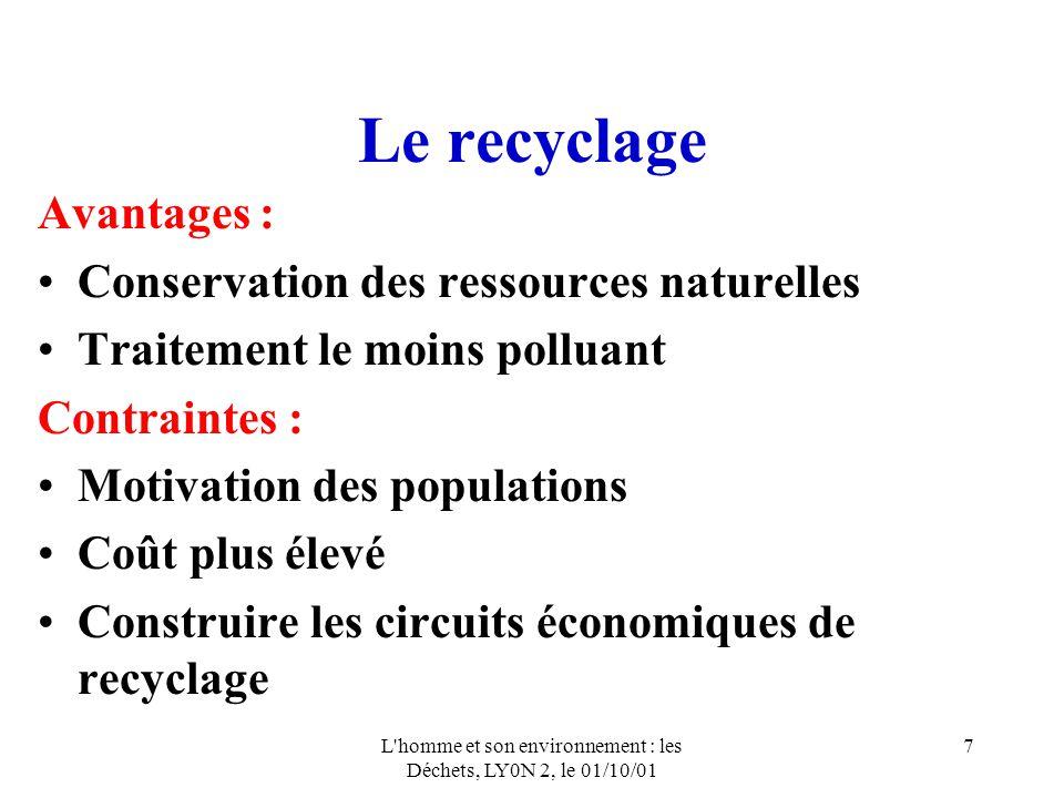 L homme et son environnement : les Déchets, LY0N 2, le 01/10/01