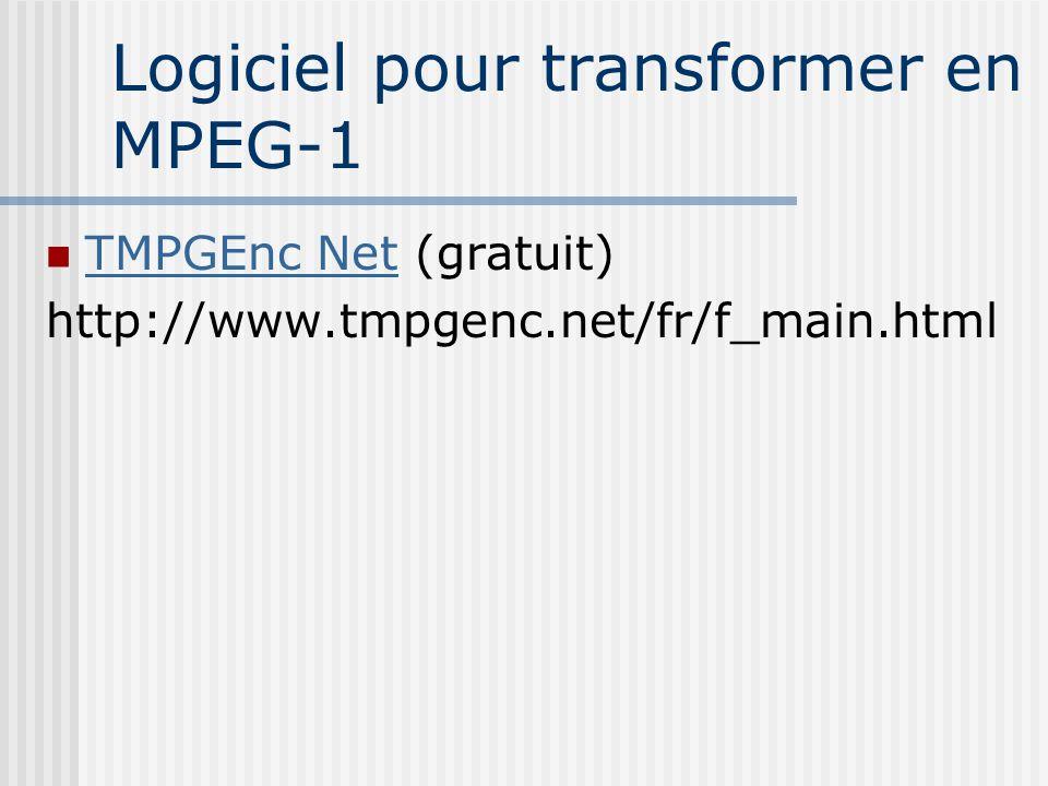 Logiciel pour transformer en MPEG-1