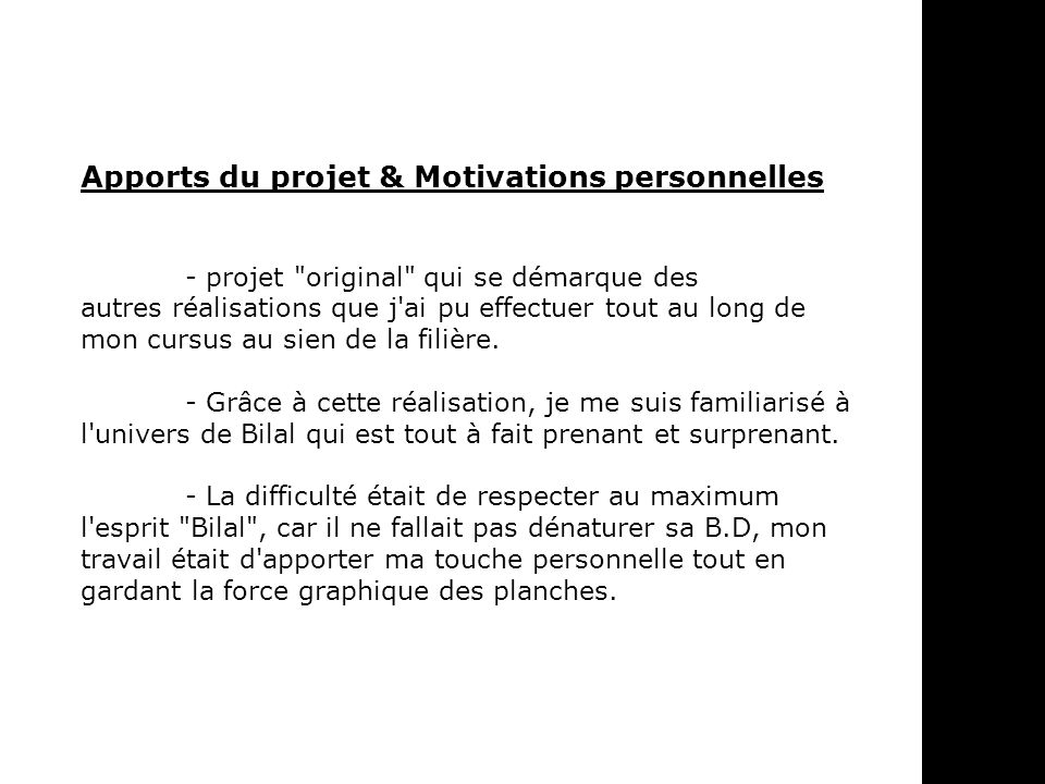 Apports du projet & Motivations personnelles