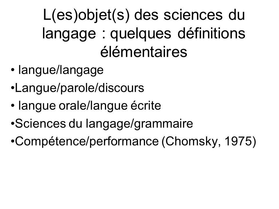L(es)objet(s) des sciences du langage : quelques définitions élémentaires