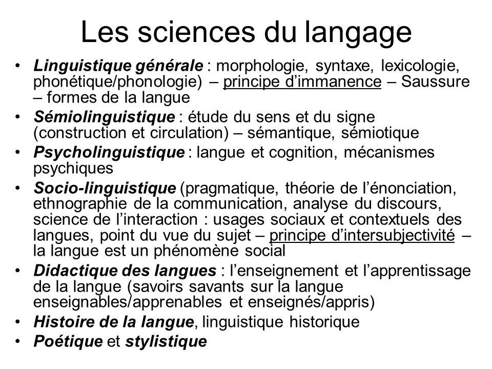 Les sciences du langage