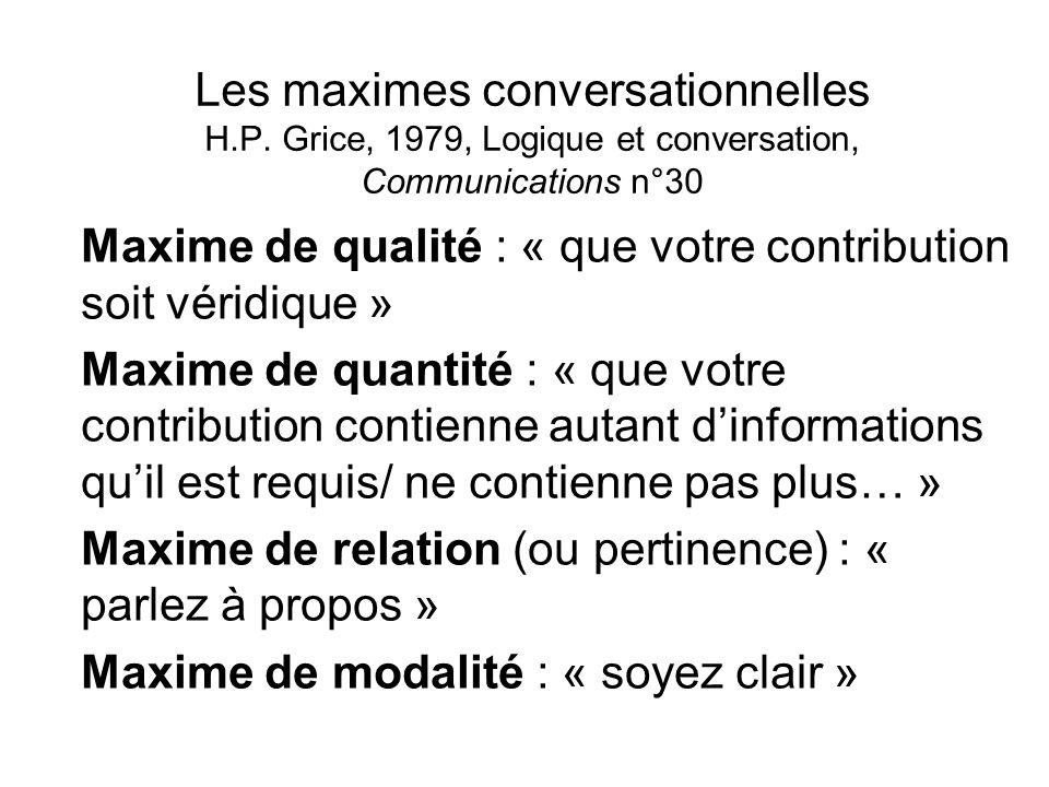 Les maximes conversationnelles H. P