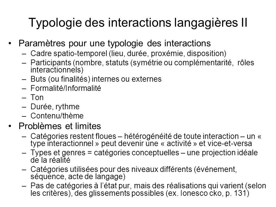 Typologie des interactions langagières II