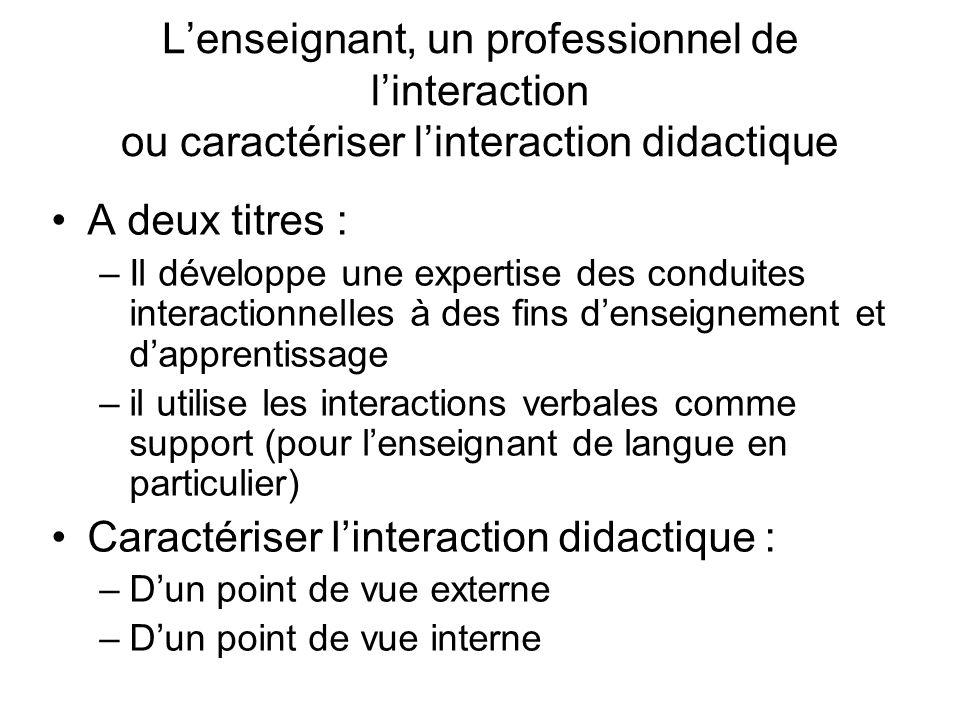 Caractériser l'interaction didactique :