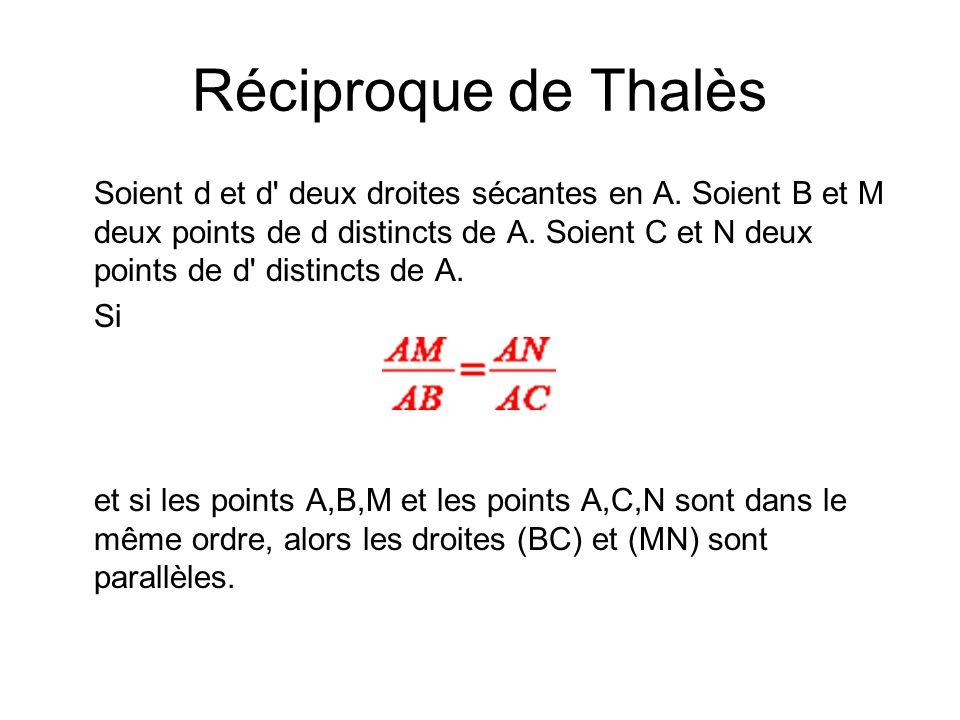 Réciproque de Thalès