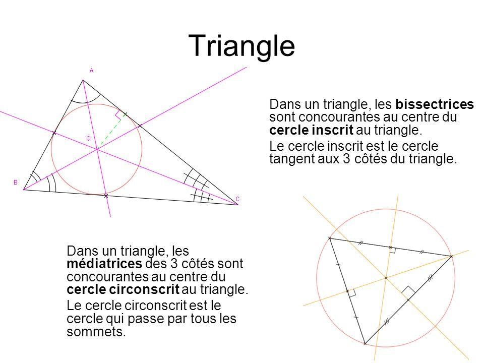 Triangle Dans un triangle, les bissectrices sont concourantes au centre du cercle inscrit au triangle.