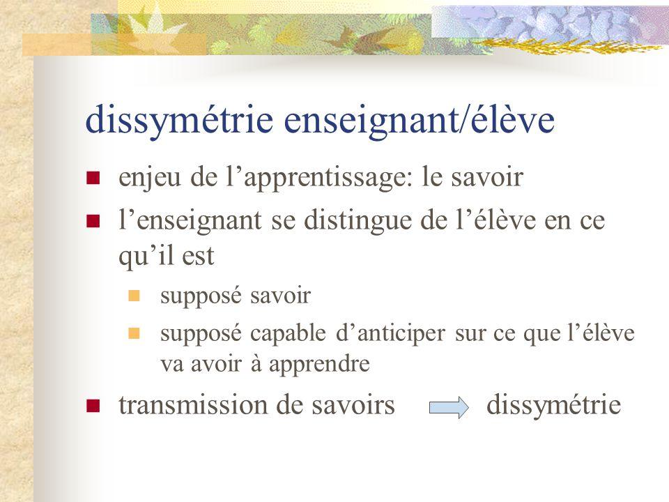 dissymétrie enseignant/élève