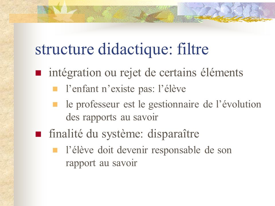 structure didactique: filtre