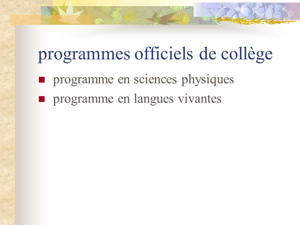 programmes officiels de collège