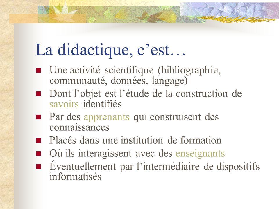 La didactique, c'est… Une activité scientifique (bibliographie, communauté, données, langage)
