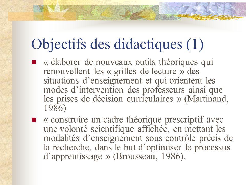 Objectifs des didactiques (1)