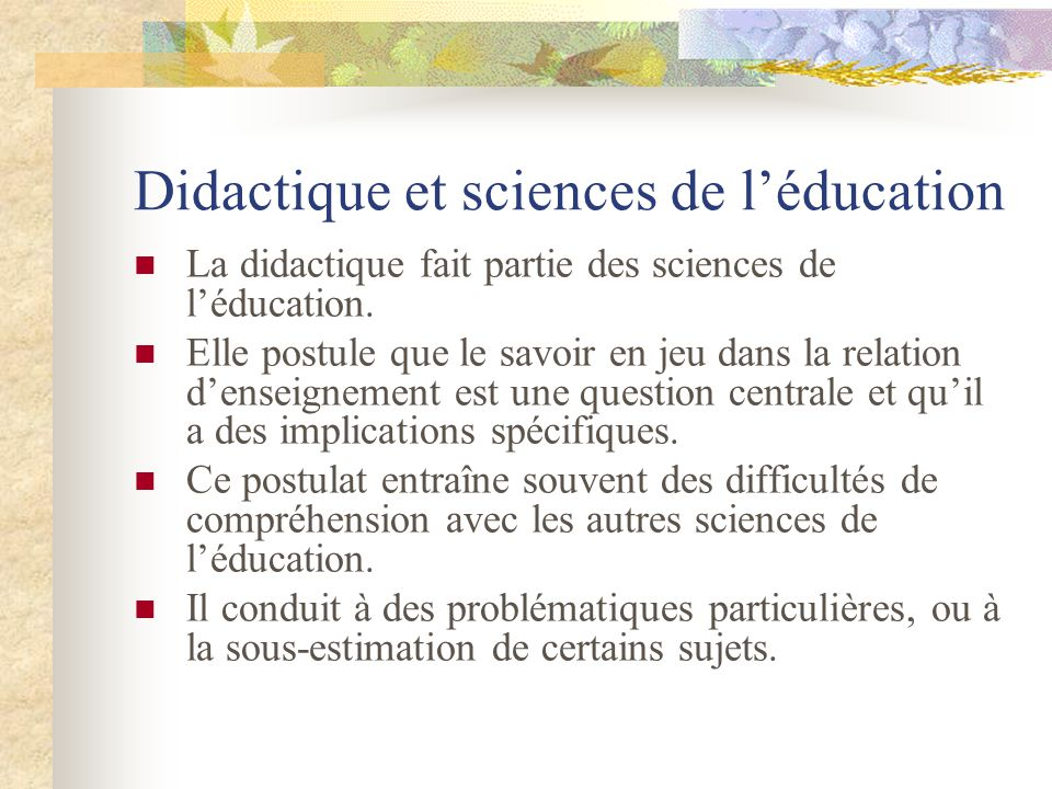Didactique et sciences de l'éducation