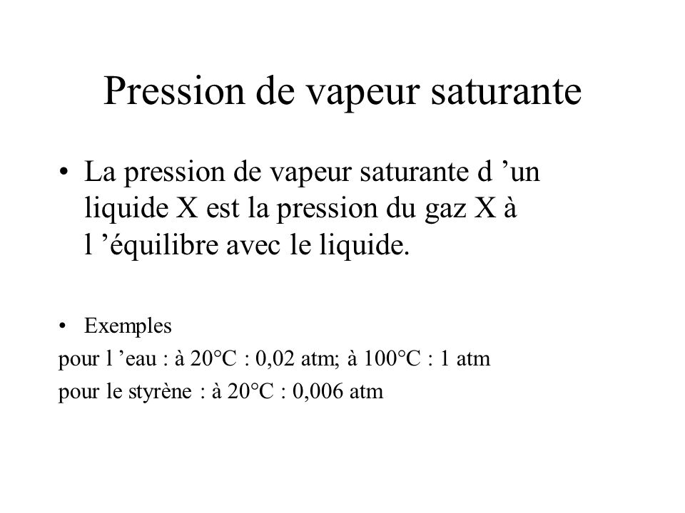 Pression de vapeur saturante
