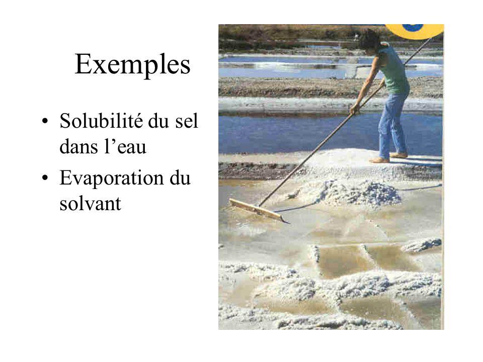 Exemples Solubilité du sel dans l'eau Evaporation du solvant